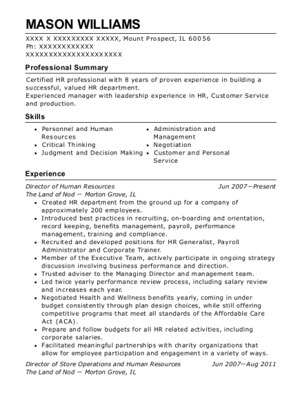 Director of Human Resources resume format Illinois