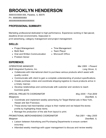 Operations Manager resume format Illinois