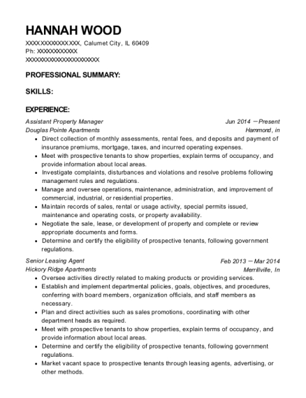 Assistant Property Manager resume template Illinois