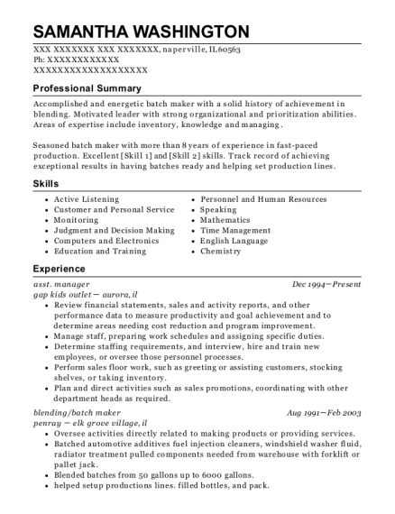asst manager resume example Illinois