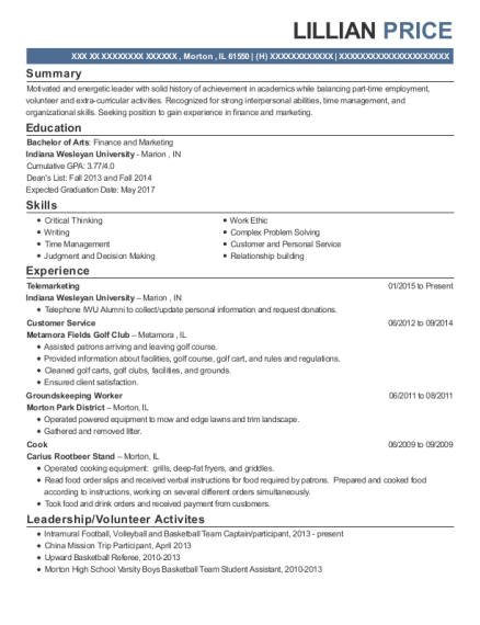 Telemarketing resume example Illinois