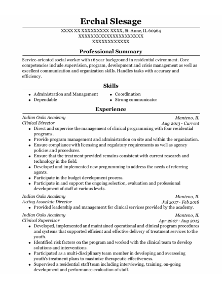 Clinical Director resume format Illinois