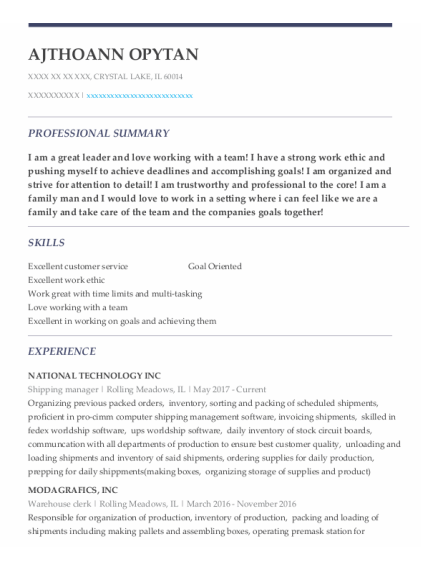 Shipping Manager resume example Illinois