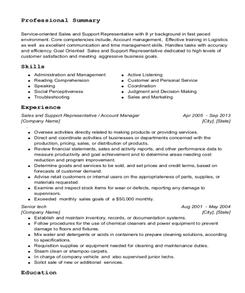 Sales and Support Representative resume sample Illinois