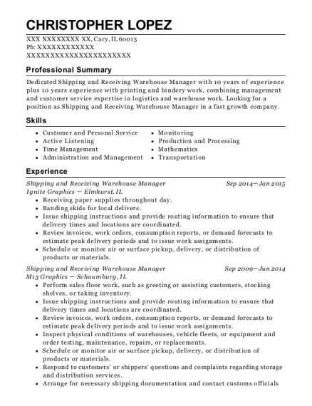Shipping and Receiving Warehouse Manager resume template Illinois