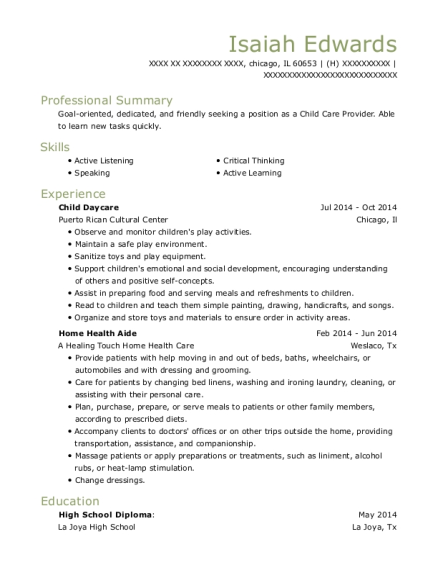 Child Daycare resume format Illinois