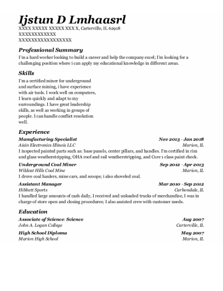 Manufacturing Specialist resume format Illinois