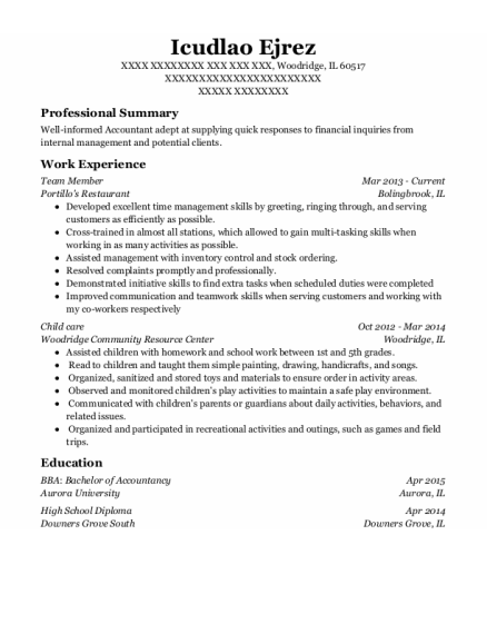 Team Member resume format Illinois