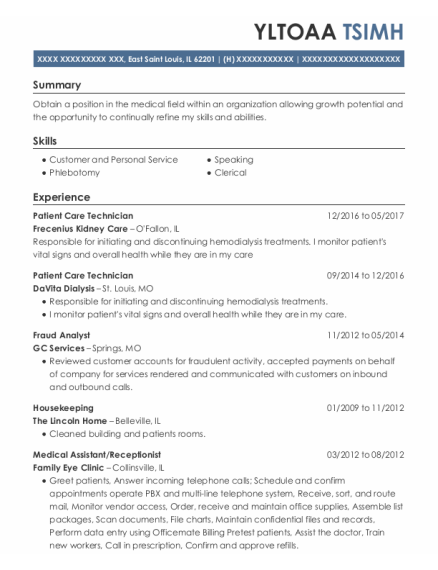 Patient Care Technician resume format Illinois