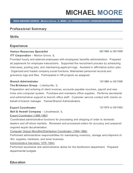 Human Resources Specialist resume example Illinois