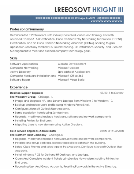 Field Service Engineer resume sample Illinois