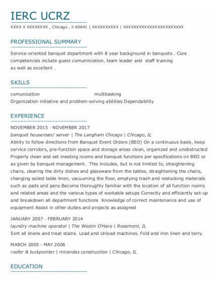 Banquet Houseman resume sample Illinois