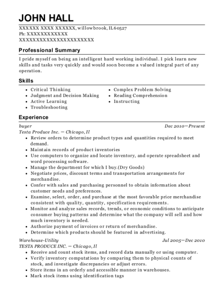Buyer resume sample Illinois