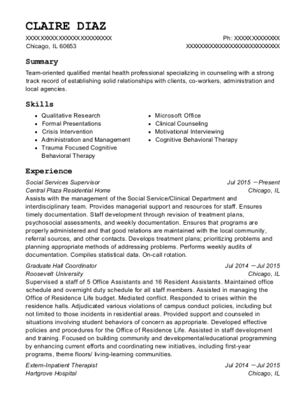 Social Services Supervisor resume example Illinois