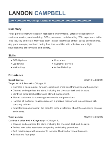 Guest Service resume format Illinois