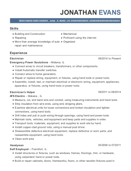 Electrician resume format Illinois