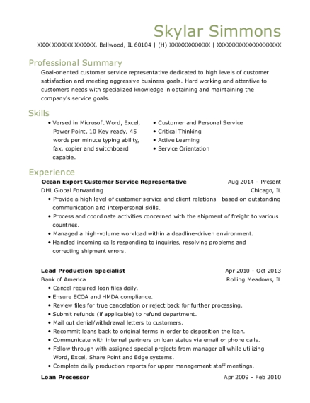 Ocean Export Customer Service Representative resume sample Illinois