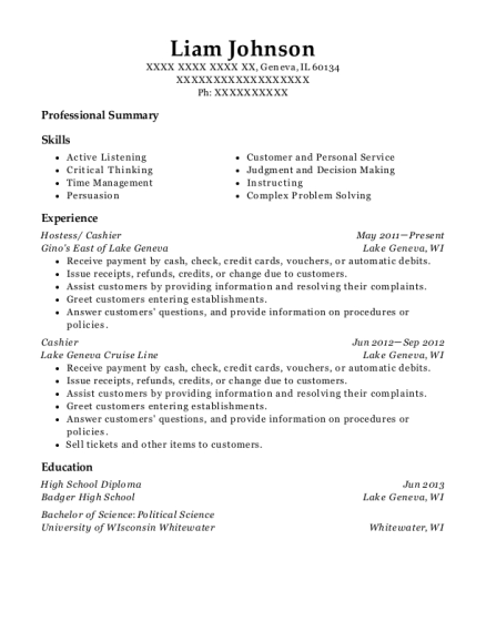 Hostess resume sample Illinois