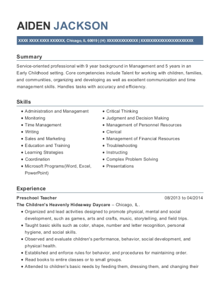 Preschool Teacher resume sample Illinois