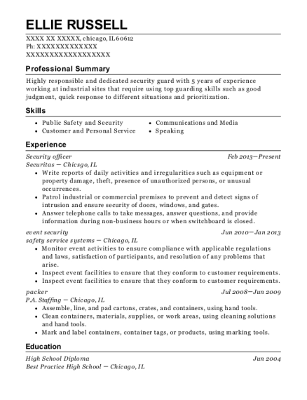 Security Officer resume sample Illinois