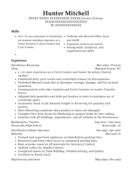 Warehouse Receiving resume format Illinois