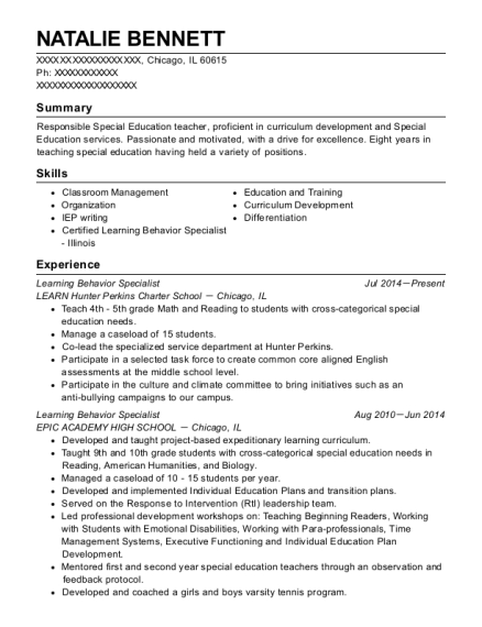 Learning Behavior Specialist resume template Illinois