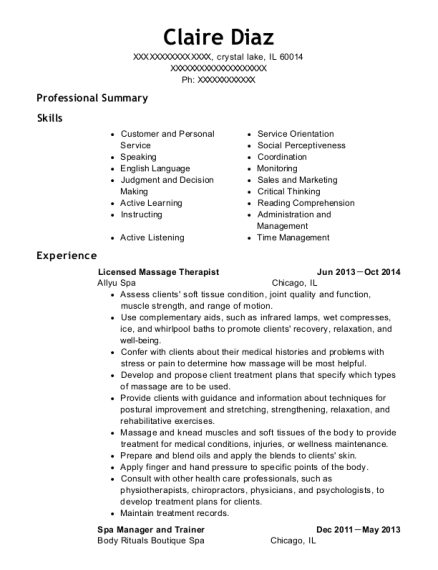 Licensed Massage Therapist resume example Illinois