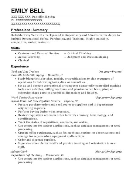 Tool and Dye Trainee resume format Illinois
