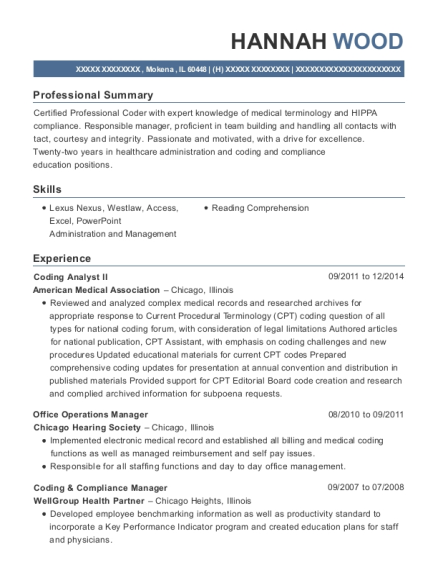Coding Analyst II resume example Illinois