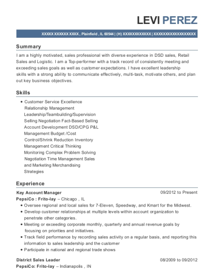 Key Account Manager resume example Illinois