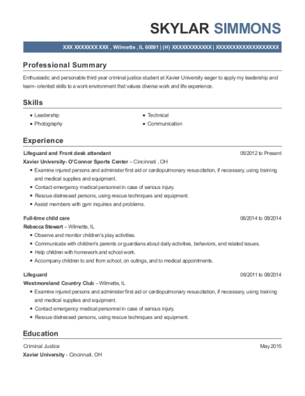 Lifeguard and Front desk attendant resume example Illinois