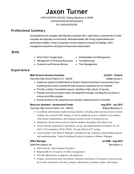 Math Science Division Assistant resume format Illinois