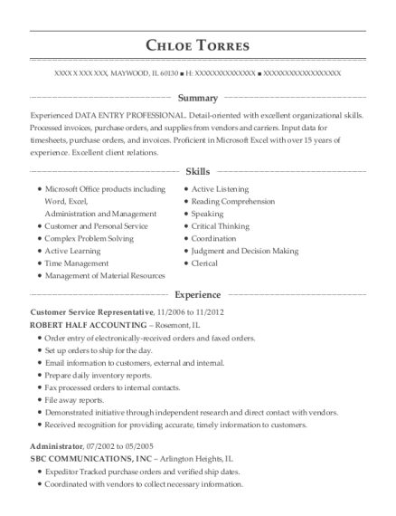 Customer Service Representative resume example Illinois