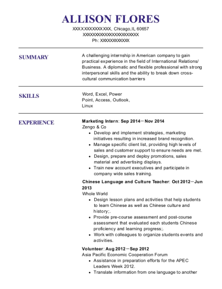 Marketing Intern resume example Illinois