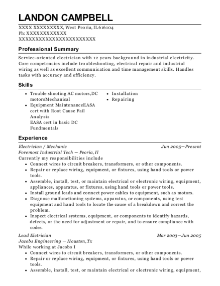 Electrician resume sample Illinois