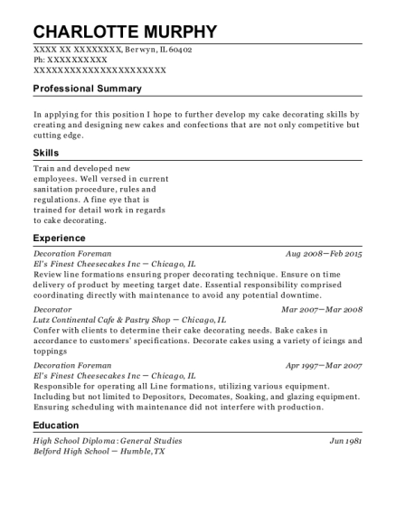 Decoration Foreman resume format Illinois