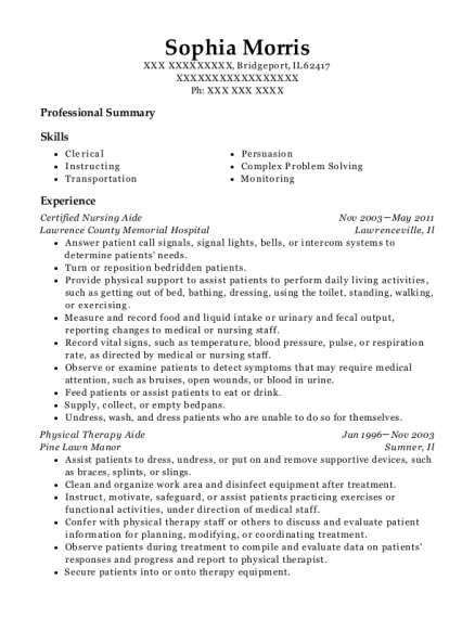 Certified Nursing Aide resume format Illinois