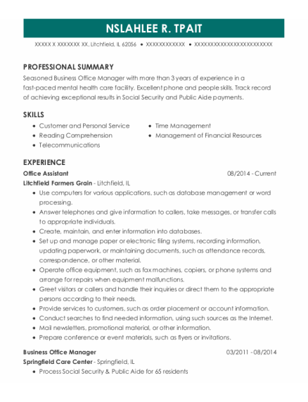 Office Assistant resume example Illinois