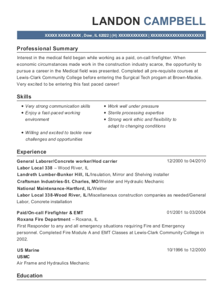 General Laborer resume example Illinois
