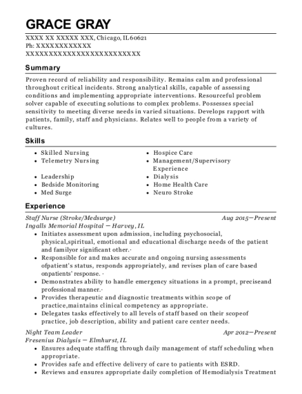 Staff Nurse resume template Illinois
