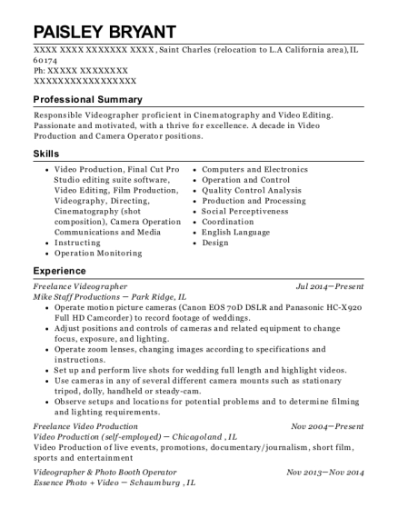 Freelance Videographer resume template Illinois