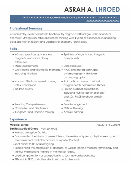 Medical Scribe resume format Illinois