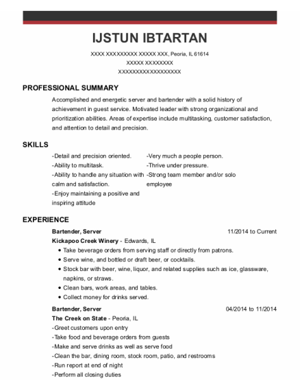Bartender resume sample Illinois