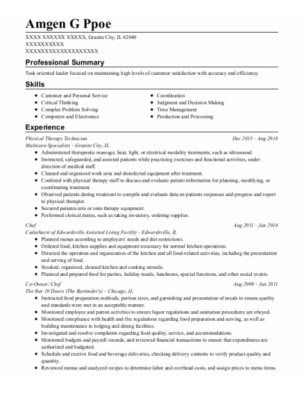 Physical Therapy Technician resume template Illinois