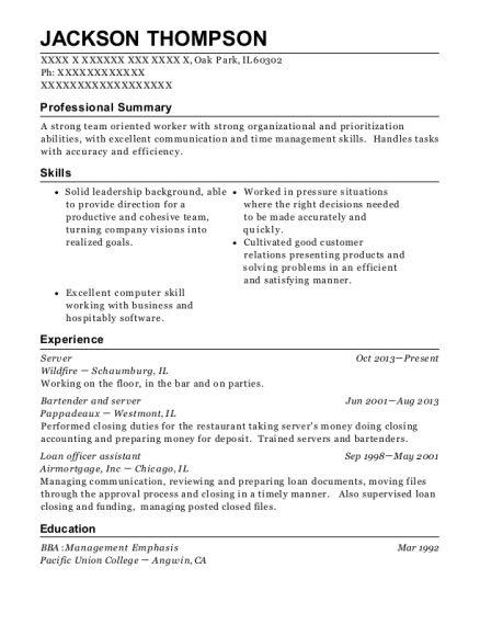 Server resume sample Illinois