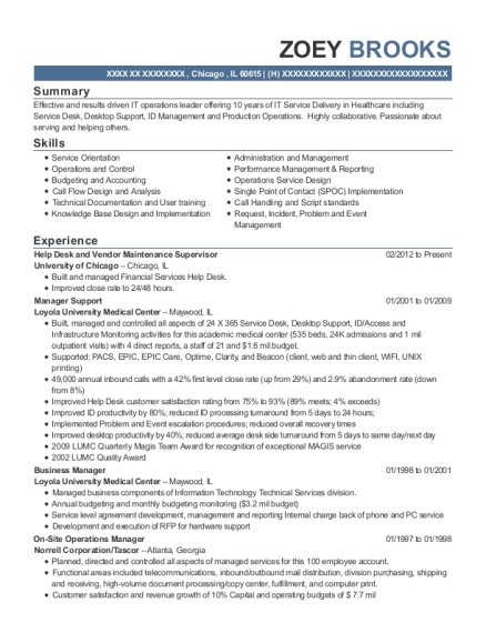 Help Desk and Vendor Maintenance Supervisor resume format Illinois