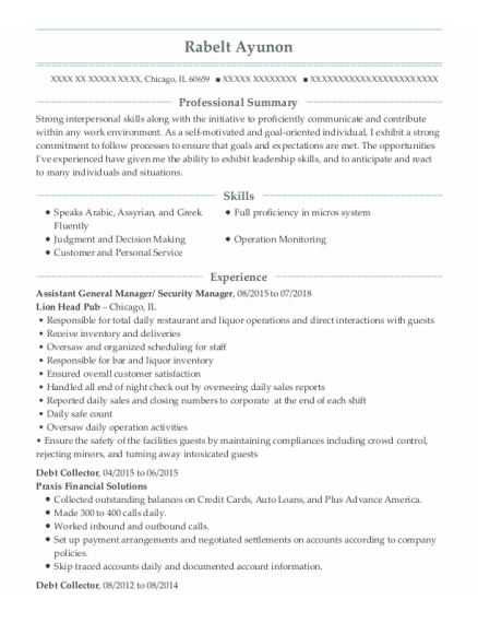 Assistant General Manager resume format Illinois