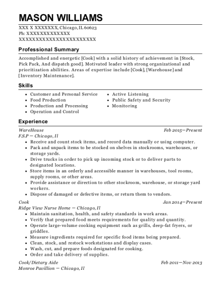 Warehouse resume example Illinois
