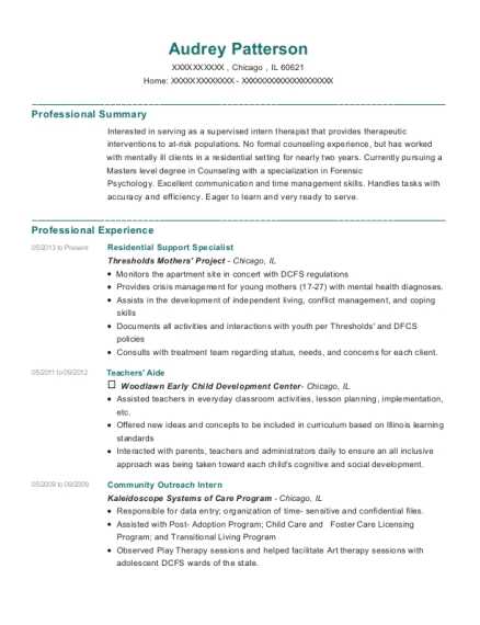 Residential Support Specialist resume sample Illinois