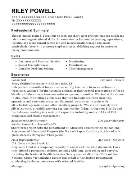 us census bureau field representative resume sample